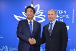 Президент РФ Владимир Путин и премьер-министр Японии Синдзо Абэ во время встречи на площадке Восточного экономического форума на острове Русский.