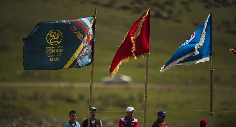 Флаг Кыргызстана и Всемирных игр кочевников. Архивное фото