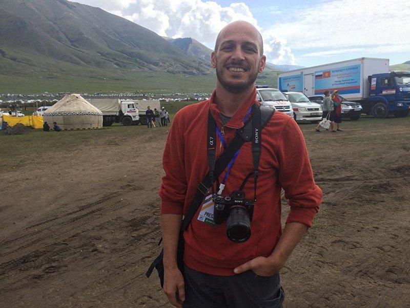 Журналист из Италии Давид Монтелеоне на Вторых всемирных играх кочевников