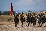 Спортсмены из Кыргызстана на турнире по джириту (метание копья верхом на лошади) на Всемирных играх кочевников