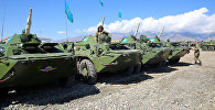 Прибытие воинского контингента Республики Казахстан со своей боевой техникой для участия на военных антитеррористичесих командно-штабных учениях Мирная миссия-2016