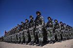 Солдаты китайской армии на военных учениях стран ШОС Мирная миссия в Балыкчи