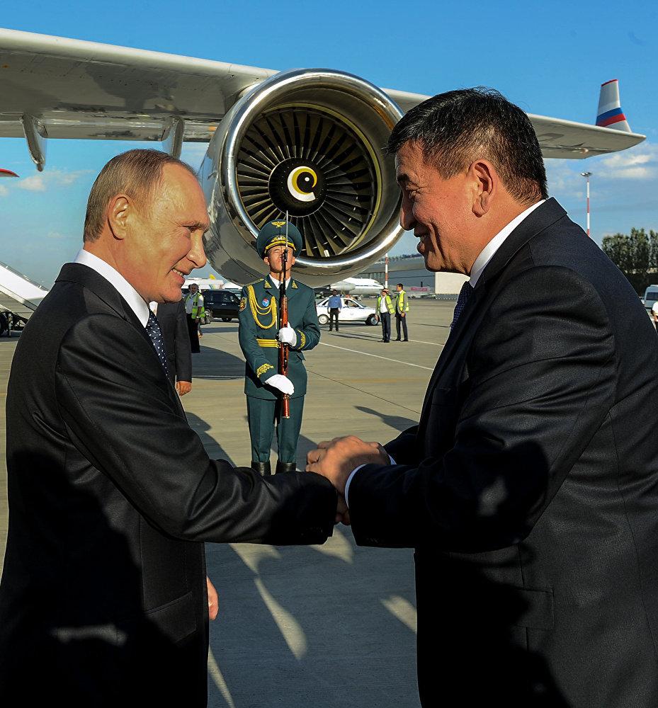 Прибытие президента России Владимира Путина в Кыргызстан