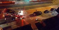 Пожарная служба у взорвавшегося мусорного контейнера в Нью-Йорке