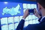 Информационные экраны в Центральной избирательной комиссии в единый день голосования.