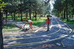 Новая круговая велодорожка открытая в южной части Бишкека