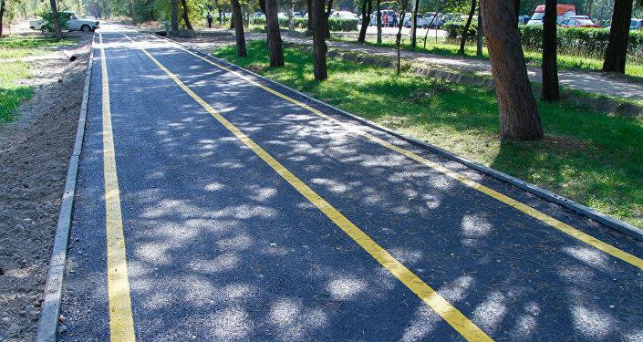 Велодорожка длиной 1,5 километра и шириной 3 метра появилась в южной части города в районе, ограниченном улицами Жукеева-Пудовкина — Токомбаева — Байтик Баатыра.