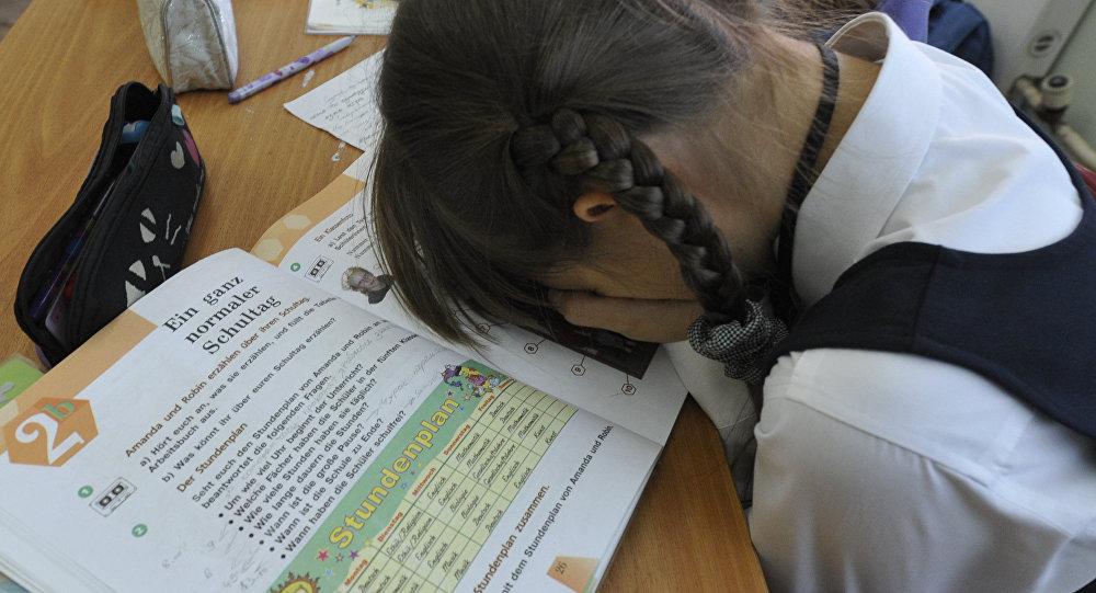 Девочка на уроке в школе. Архивное фото