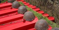 Каски и гвоздики на гробах. Архивное фото