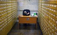 Посетитель спит в библиотеке. Архивное фото