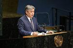Министр иностранных дел Кыргызстана Эрлан Абдылдаев во время выступления на 71-й сессии Генеральной Ассамблеи ООН в Нью-Йорке