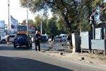 Вода залила проезжую часть и тротуары на пересечении улиц Ахунбаева и Абдрахманова