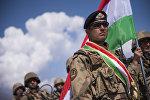 Таджикский военнослужащий на антитеррористических учениях ШОС Мирная миссия — 2016 на Иссык-Куле