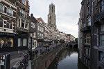 Старый канал Аудеграхт (Oudegracht) в Утрехте, Нидерланды, архивное фото