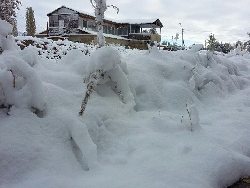 Одна из улиц Таласа после обильного снегопада