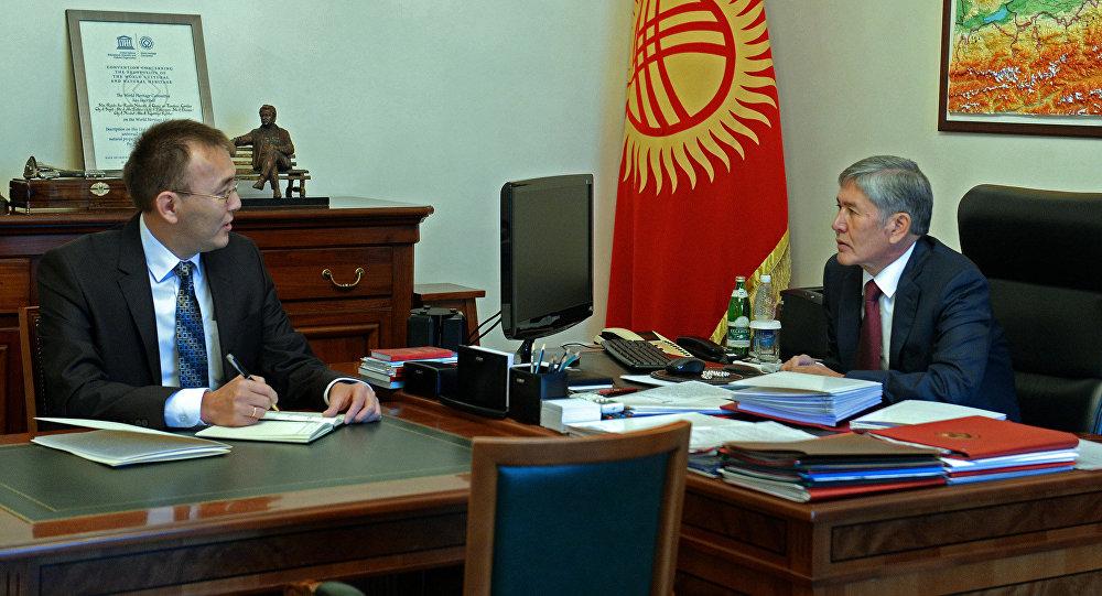 Президент Алмазбек Атамбаев Улуттук банктын төрагасы Толкунбек Абдыгуловду кабыл алды