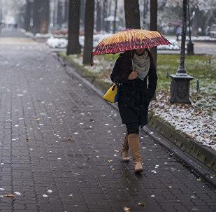 Архивное фото девушки, которая идет по алее во время снегопада в Бишкеке