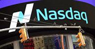 Фондовая биржа NASDAQ на Таймс-сквер в Нью-Йорке