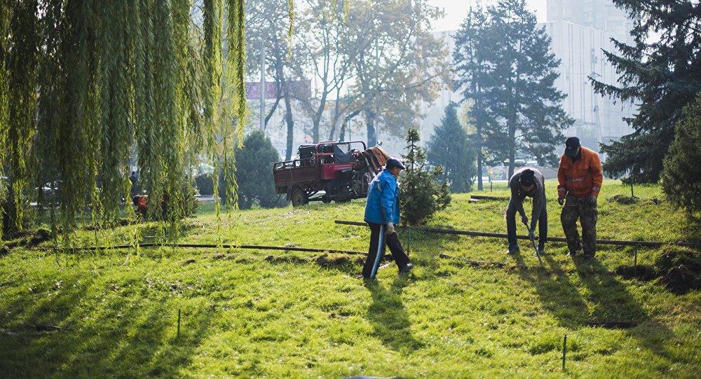 Сотрудники муниципальной службы во время замены труб в Бишкеке. Архивное фото