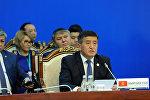 Премьер-министр Сооронбай Жээнбеков на расширенном заседании Совета глав правительств государств Шанхайской организации сотрудничества, который проходит в Бишкеке.
