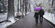Пара идет с зонтом. Архивное фото