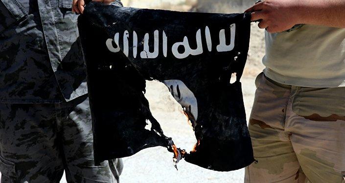 Сирийские солдаты поджигают флаг Исламского государства. Архивное фото