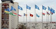 Флаги стран СНГ в городе Минск Республики Беларусь. Архивное фото