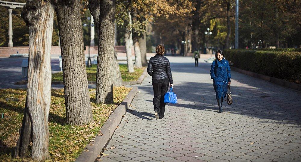 Горожане прогуливаются по парку у памятника Курманжан Датки в Бишкеке. Архивное фото