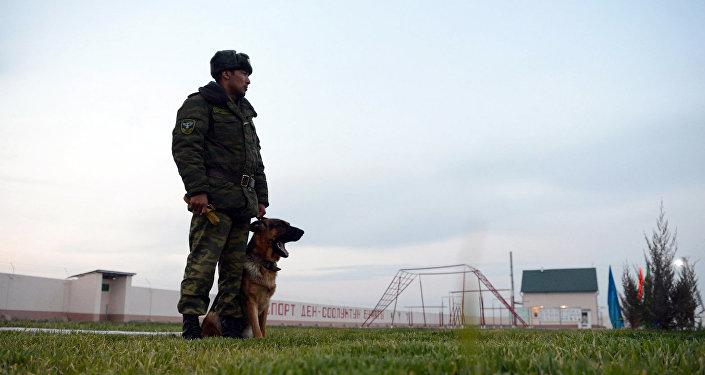 Сотрудник пограничной службы с служебной собакой. Архивное фото