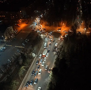Ночной Бишкек. Другой взгляд на автомобильную пробку