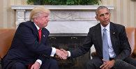АКШнын президенти Дональд Трамп жана экс-президенти Барак Обама. Архив
