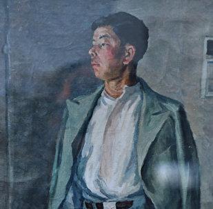 Акын Алыкул Осмоновдун портрети, автору Гапар Айтиев. Архив