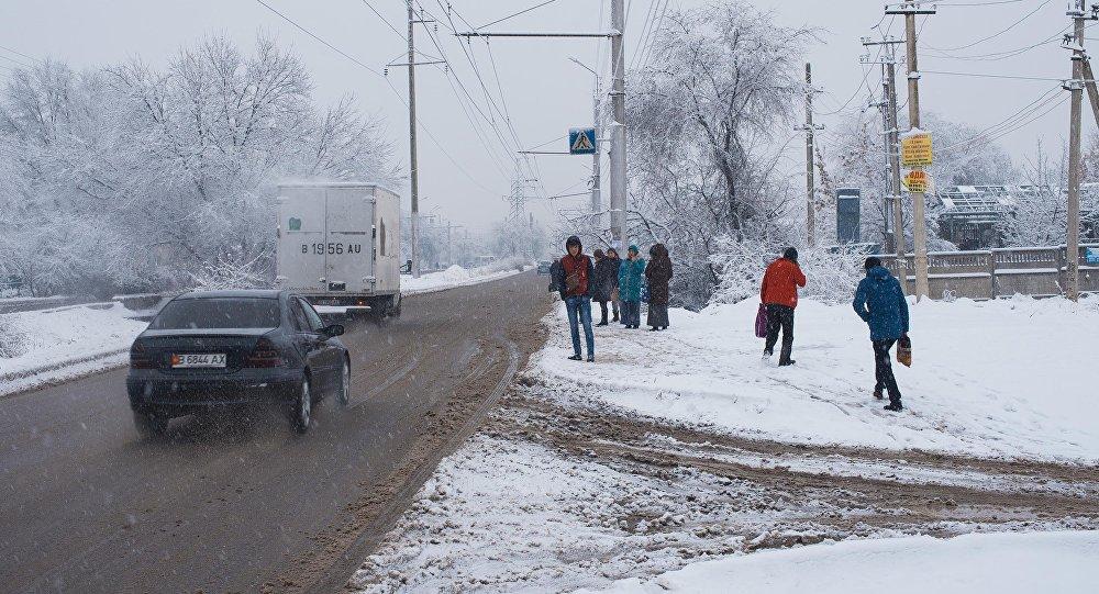 Люди на остановке во время снегопада. Архивное фото