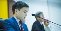 Начальник управления стратегического планирования Министерства экономики Нурадил Байдолотов на пресс-конференции в мультимедийном центре Sputnik Кыргызстан.