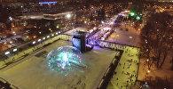 Светящийся лед и цветные аллеи: каток в парке Горького с высоты птичьего полета