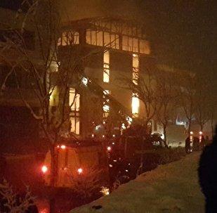 Пожар на аквапарке Ала-Тоо в Бишкеке