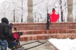 Издиялык Chald Film Banaye компаниясы Кыргызстанда клип тартуу учурунда