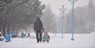 Бишкекте кар жааган малда бараткан жашоочулар. Архивдик сүрөт