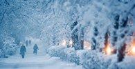Прохожие идут по тротуару во время сильного снегопада. Архивное фото