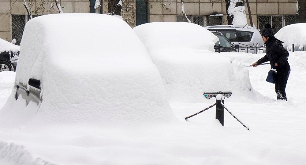 Женщина убирает снег с автомобиля после сильного снегопада. Архивное фото
