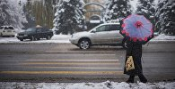Женщина с зонтом переходит дорогу. Архивное фото