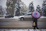 Женщина с зонтом во время снегопада в Бишкеке. Архивное фото