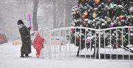 Горожане во время снегопада возле новогодней елки. Архивное фото