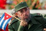 Фидель Кастро во время первомайского парада на площади Революции, 1-мая 2005 год