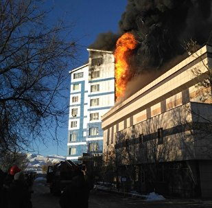 Пожар частной школы в Бишкеке