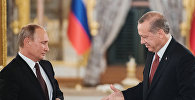 Президент РФ Владимир Путин и президент Турции Реджеп Тайип Эрдоган (справа). Архивное фото