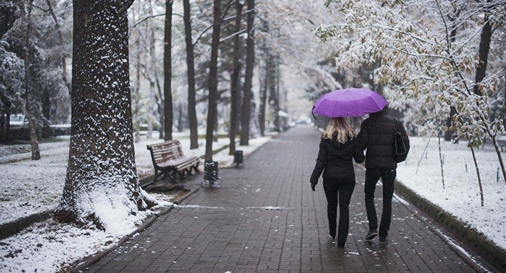 Пара идет с зонтом на бульваре Эркиндик в Бишкеке
