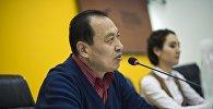 Sputnik Кыргызстан агенттигинин мультимедиалык маалымат борборунда өткөн маалымат жыйында КР Кинематографисттер союзунун төрагасы Таалайбек Кулмендеев
