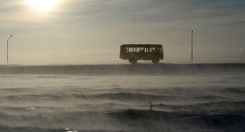 Автобус едет по дороге. Архивное фото