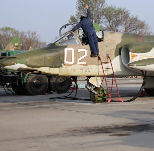Штурмовик Су-25СМ на авиабазе ОДКБ Кант. Архивное фото